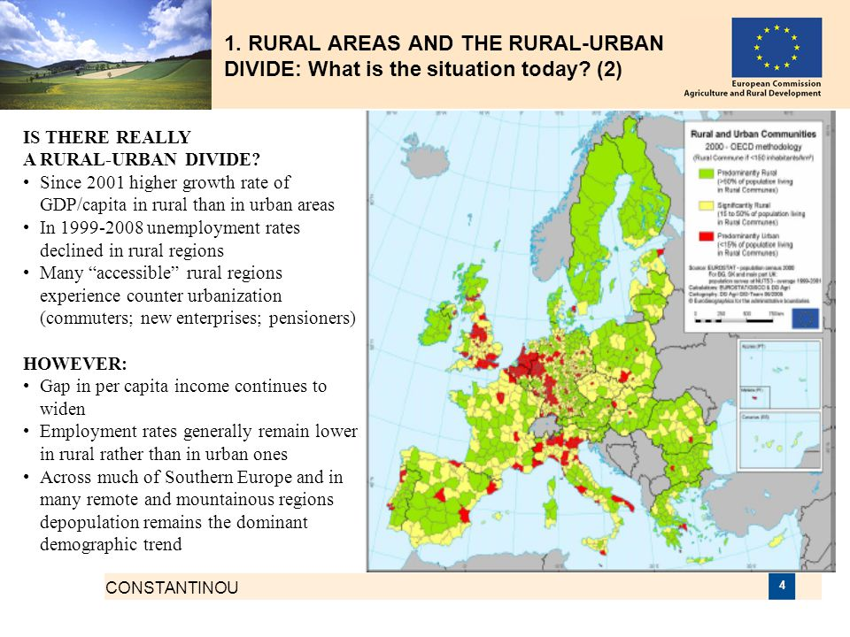 1. RURAL AREAS AND THE RURAL-URBAN DIVIDE: What is the situation today