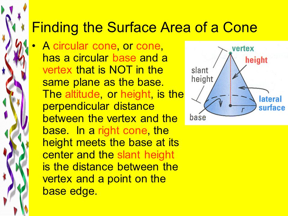 Finding the Surface Area of a Cone
