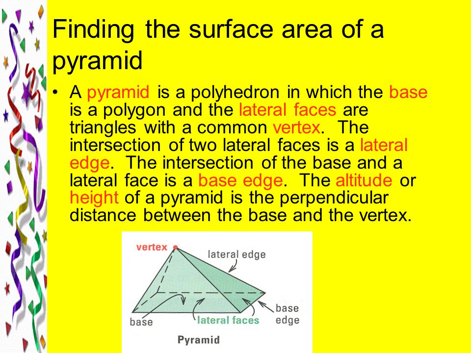 Finding the surface area of a pyramid