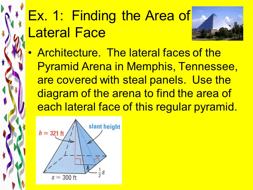 Ex. 1: Finding the Area of a Lateral Face