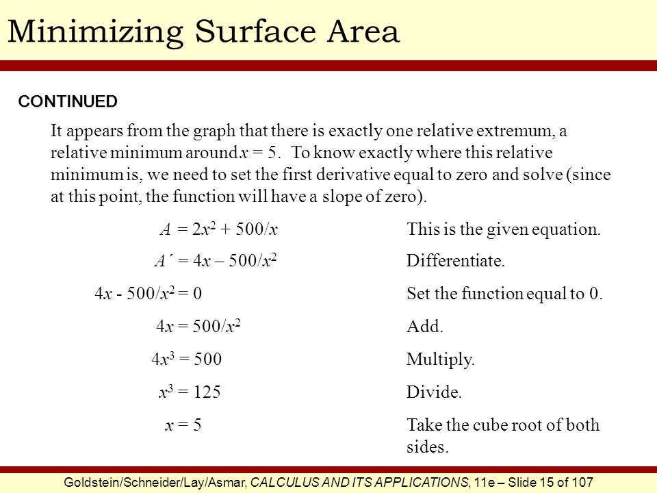 Minimizing Surface Area
