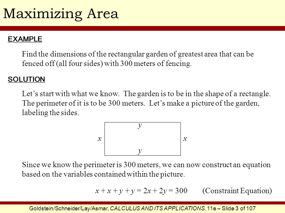 Maximizing Area EXAMPLE.