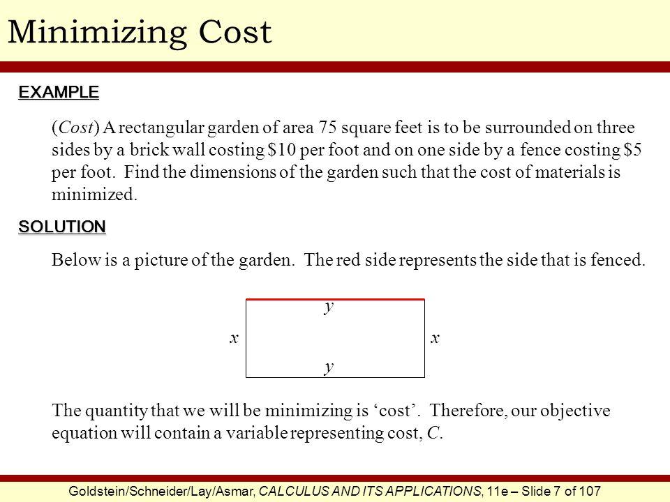 Minimizing Cost EXAMPLE.