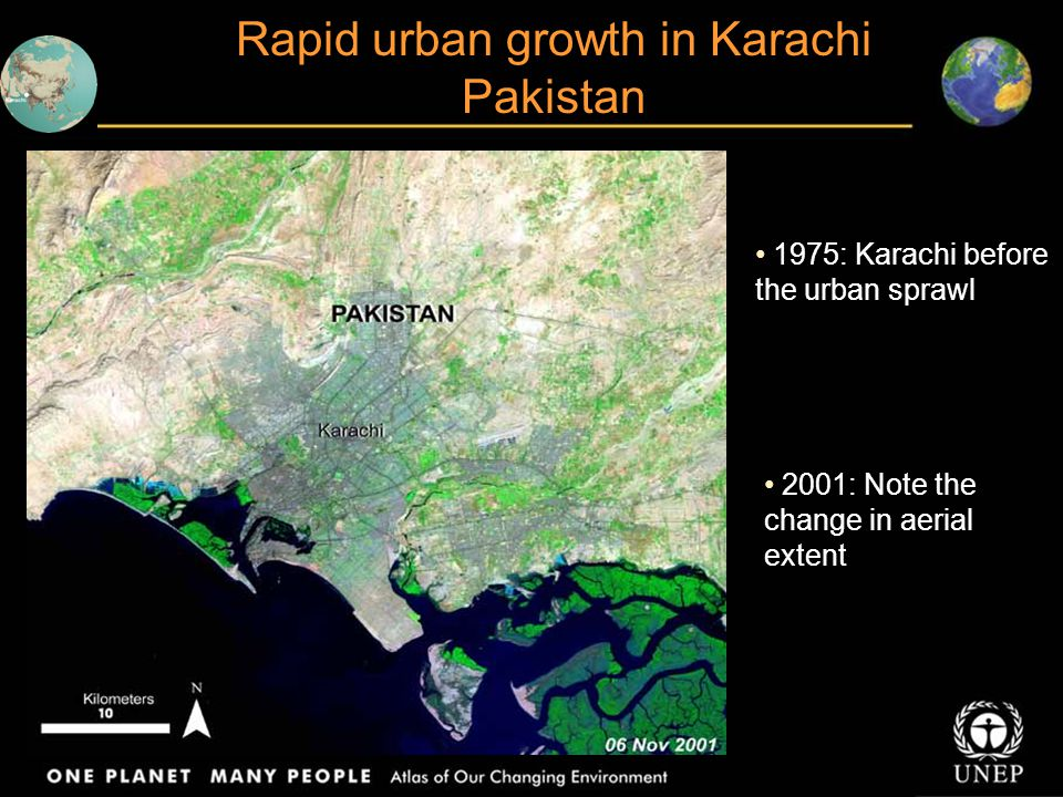 Rapid urban growth in Karachi Pakistan
