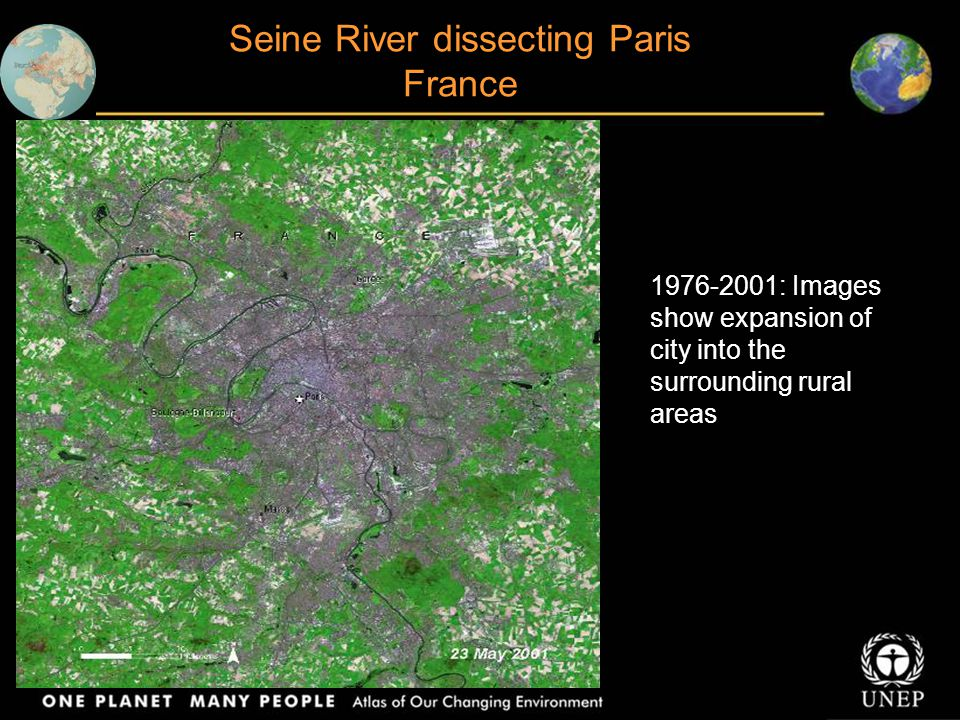 Seine River dissecting Paris France