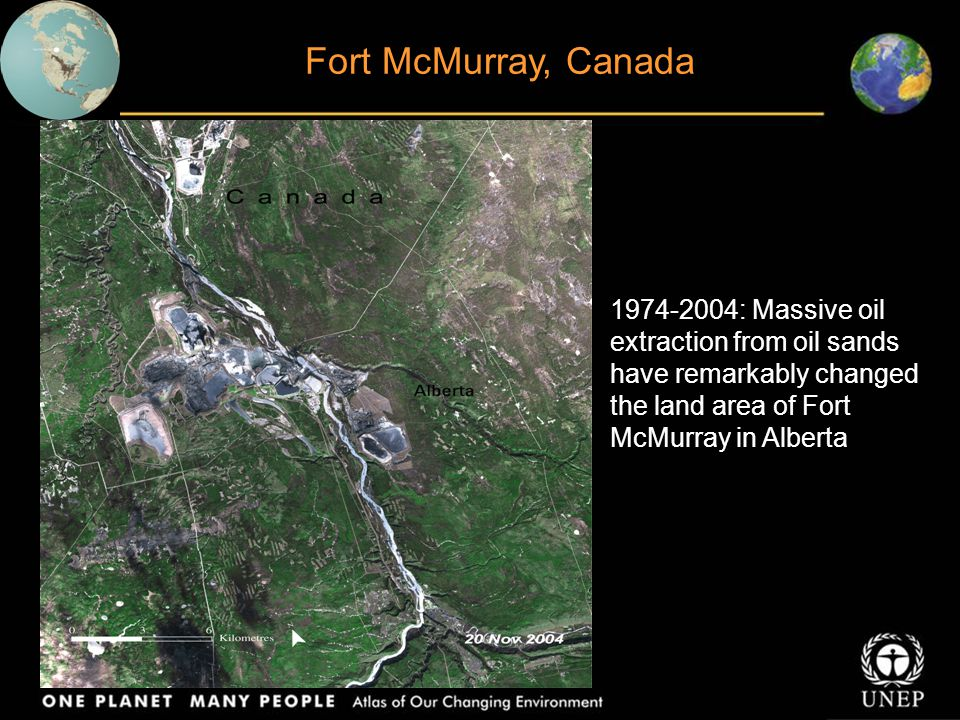 Fort McMurray, Canada 1974-2004: Massive oil extraction from oil sands have remarkably changed the land area of Fort McMurray in Alberta.