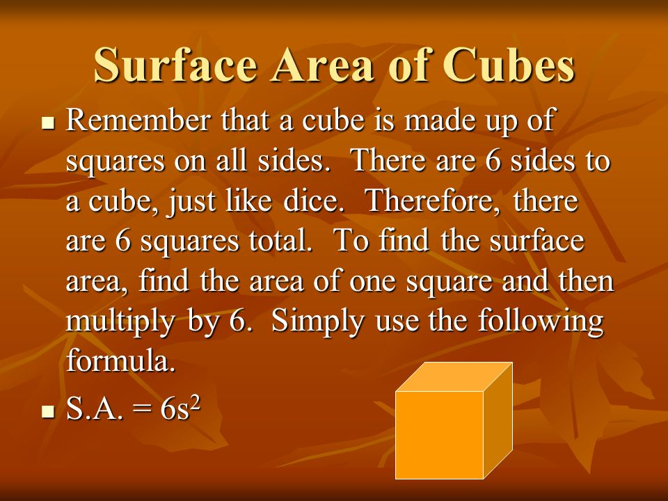 Surface Area of Cubes