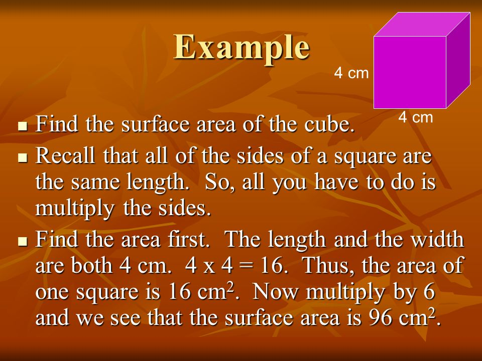 Example Find the surface area of the cube.