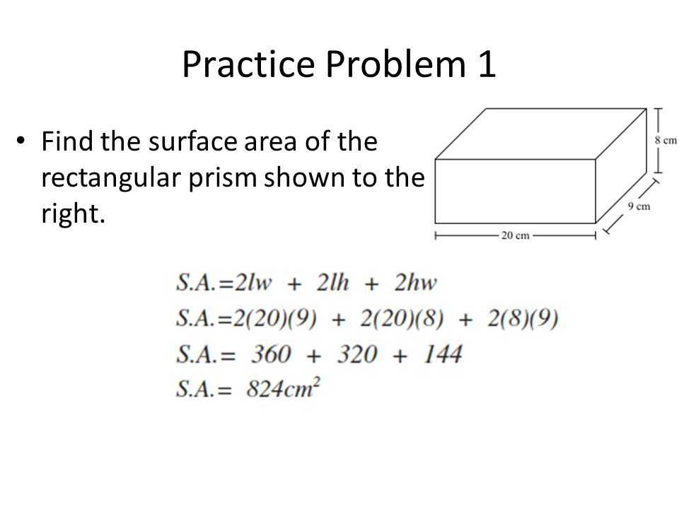 Practice Problem 1 Find the surface area of the rectangular prism shown to the right.