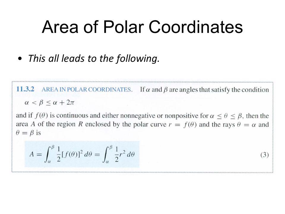 Area of Polar Coordinates