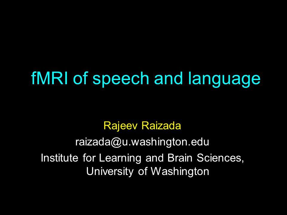fMRI of speech and language