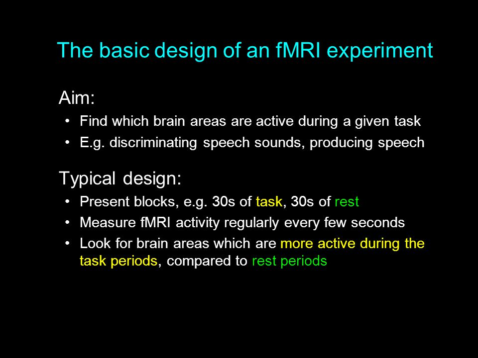 The basic design of an fMRI experiment