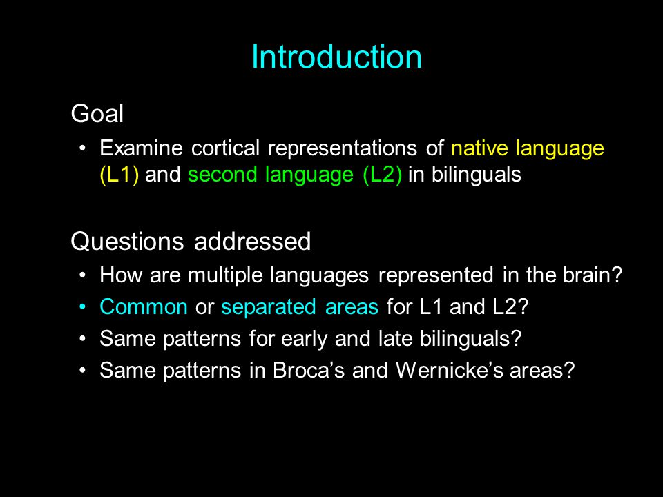 Introduction Goal Questions addressed
