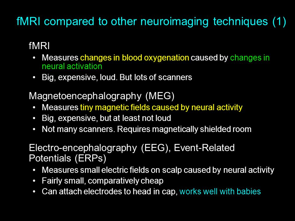 fMRI compared to other neuroimaging techniques (1)