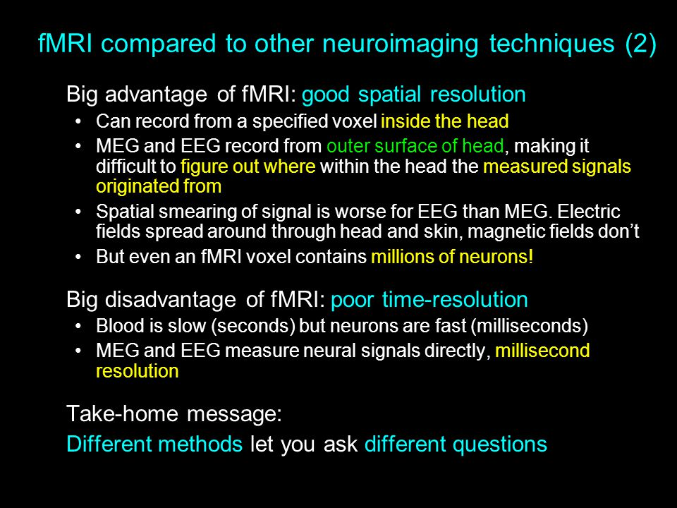 fMRI compared to other neuroimaging techniques (2)