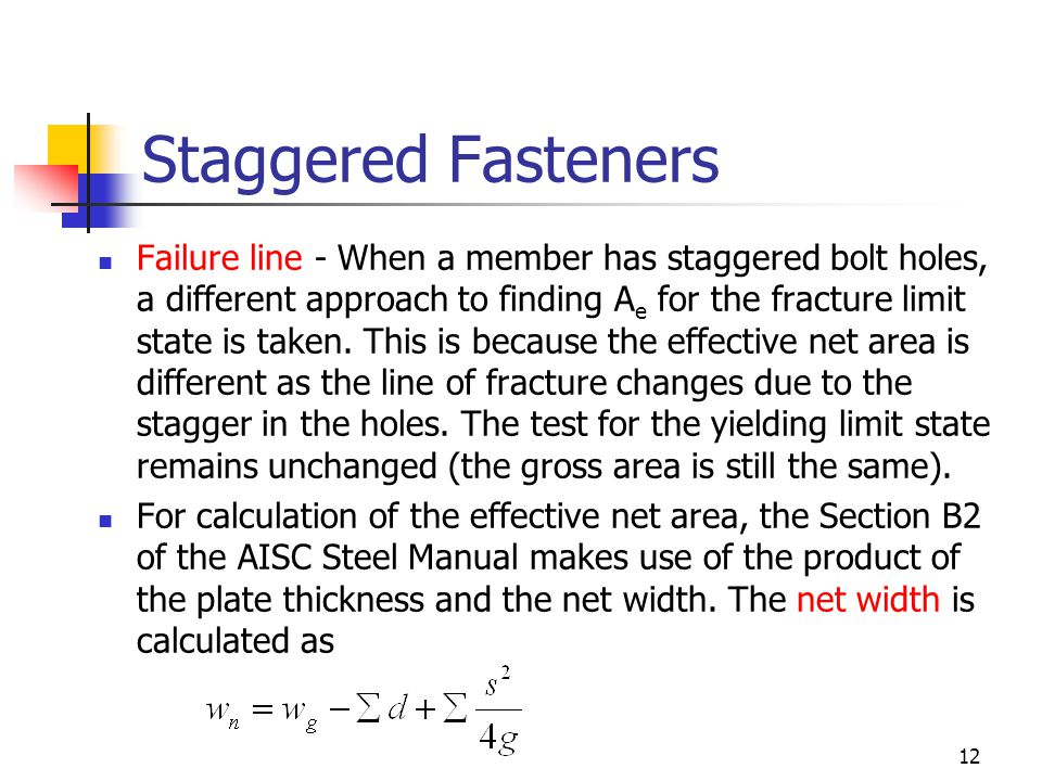 Staggered Fasteners