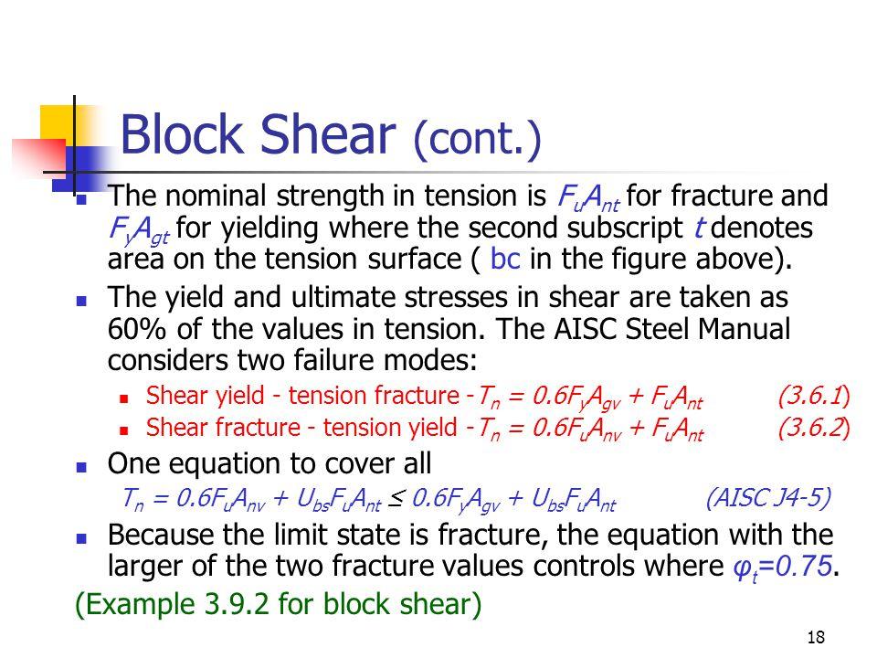 Block Shear (cont.)