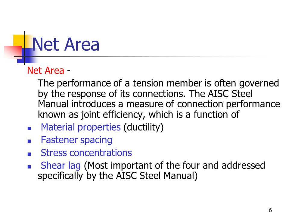 Net Area Net Area -
