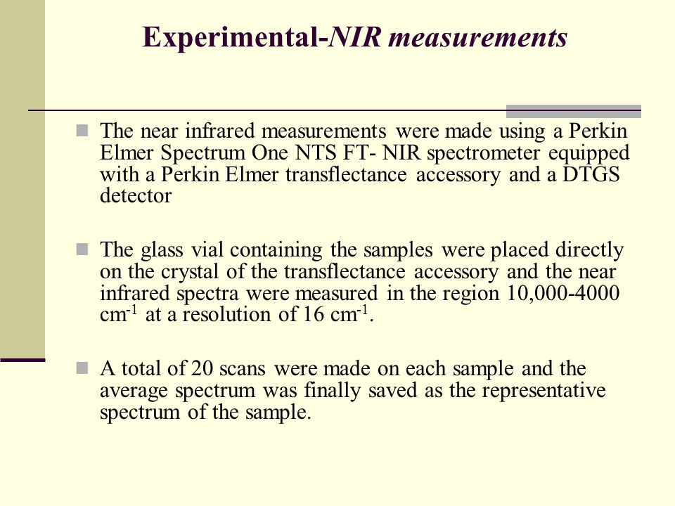 Experimental-NIR measurements