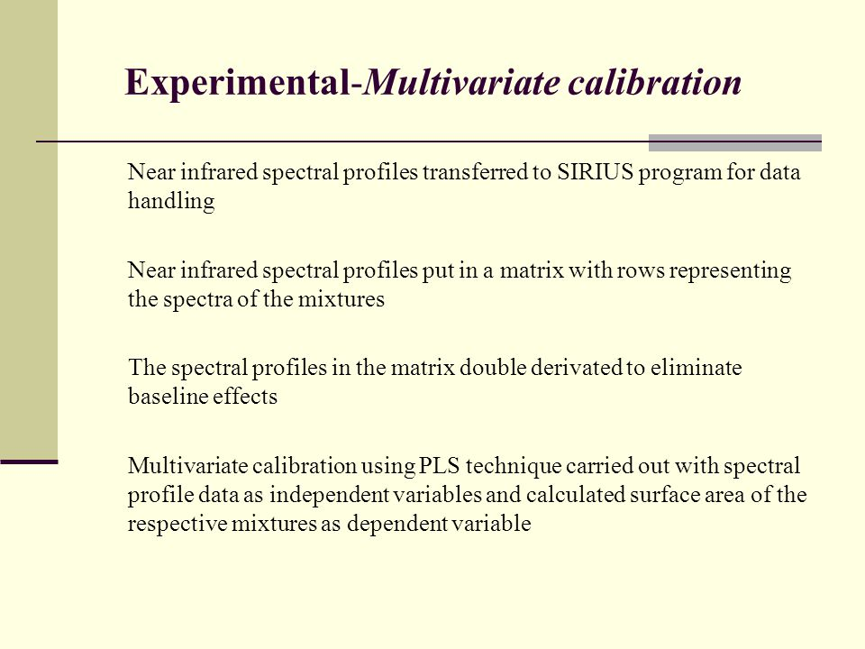 Experimental-Multivariate calibration