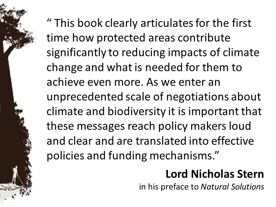 This book clearly articulates for the first time how protected areas contribute significantly to reducing impacts of climate change and what is needed for them to achieve even more. As we enter an unprecedented scale of negotiations about climate and biodiversity it is important that these messages reach policy makers loud and clear and are translated into effective policies and funding mechanisms.