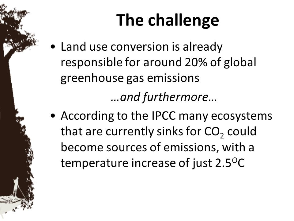 The challenge Land use conversion is already responsible for around 20% of global greenhouse gas emissions.