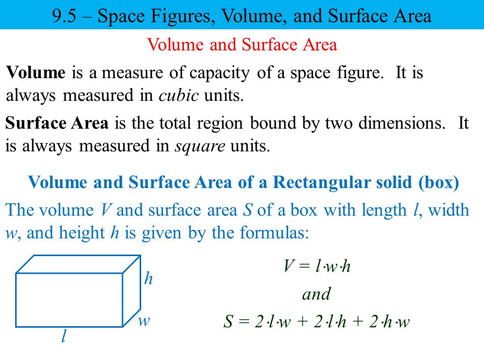 Volume and Surface Area of a Rectangular solid (box)