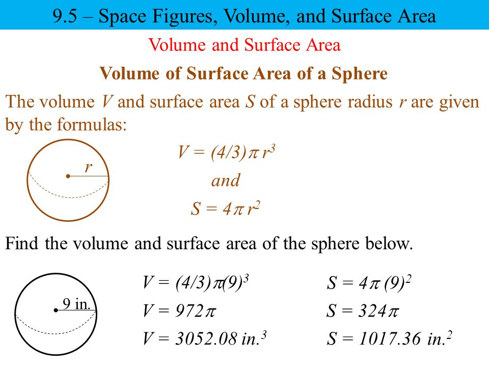 Volume of Surface Area of a Sphere