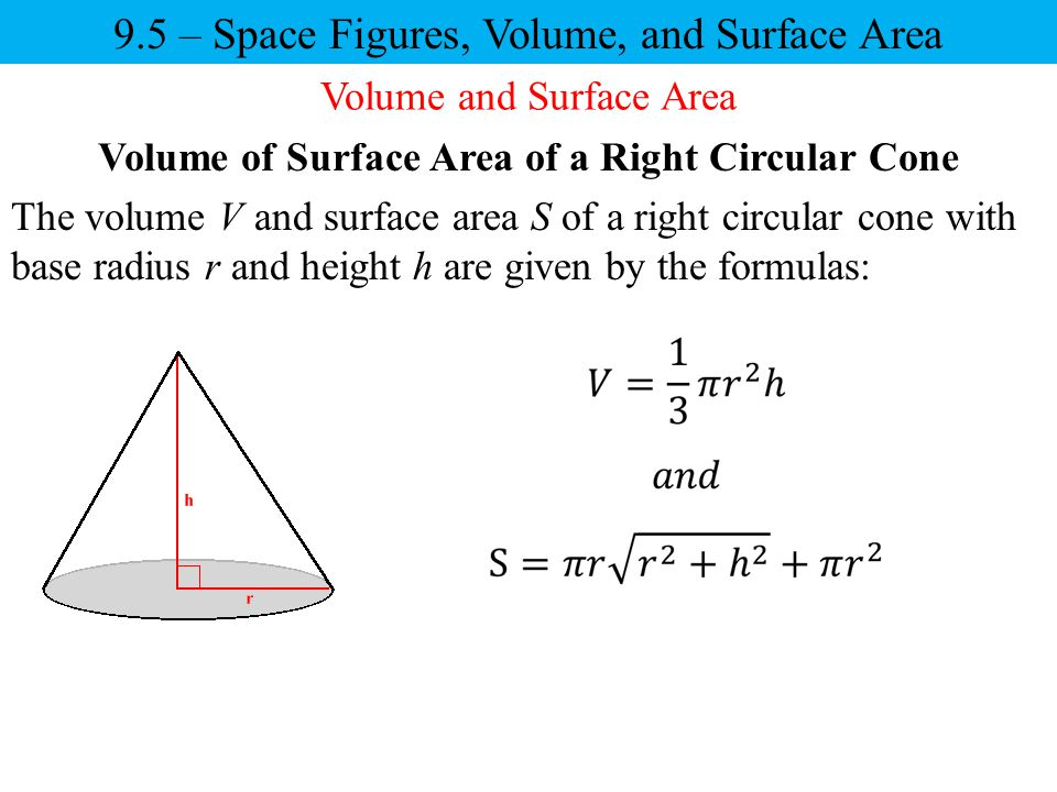 Volume of Surface Area of a Right Circular Cone