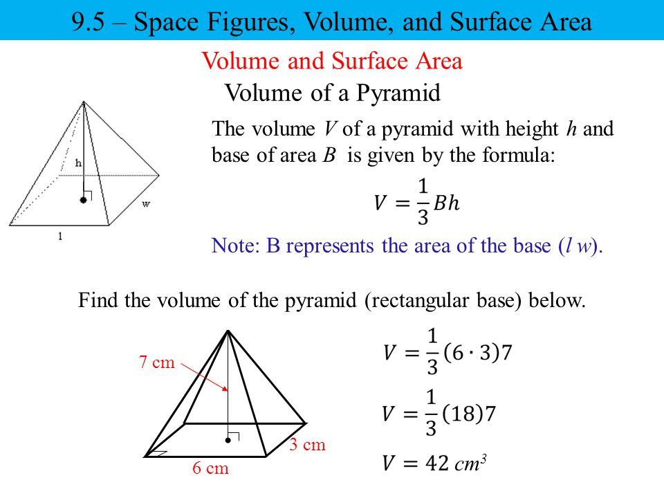 9.5 – Space Figures, Volume, and Surface Area