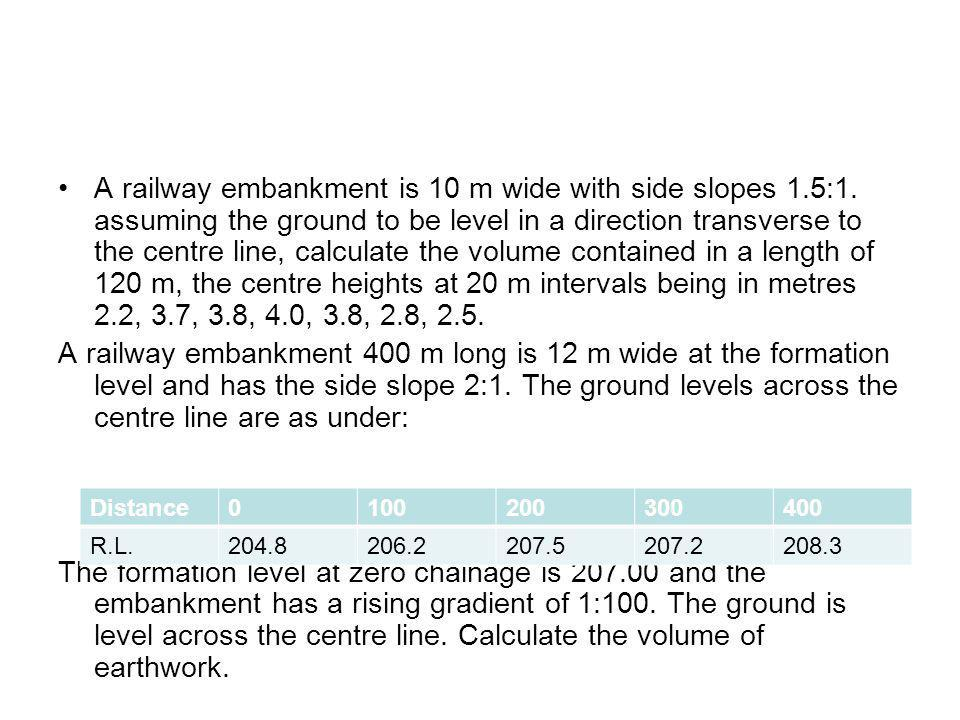 A railway embankment is 10 m wide with side slopes 1. 5:1