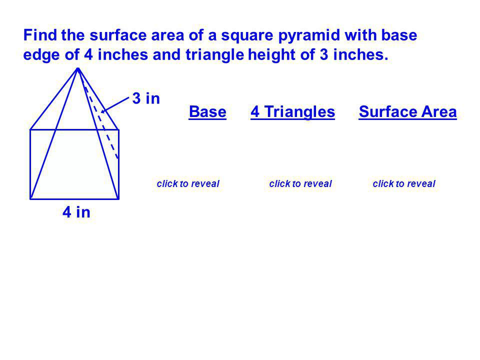 Find the surface area of a square pyramid with base edge of 4 inches and triangle height of 3 inches.