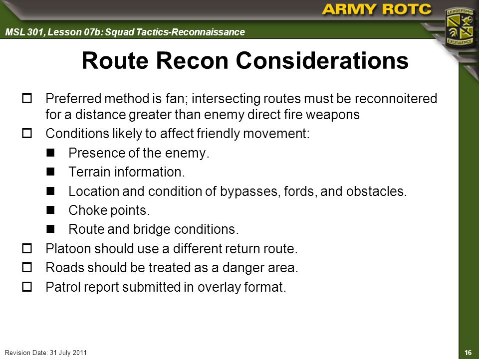 Route Recon Considerations
