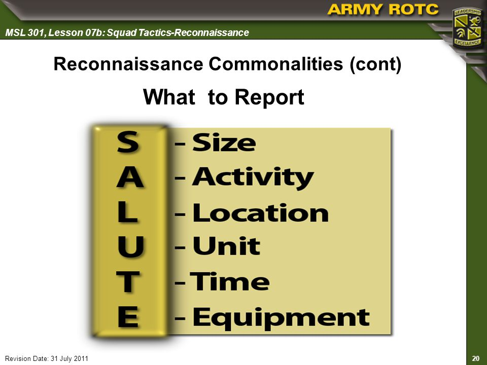 Reconnaissance Commonalities (cont)