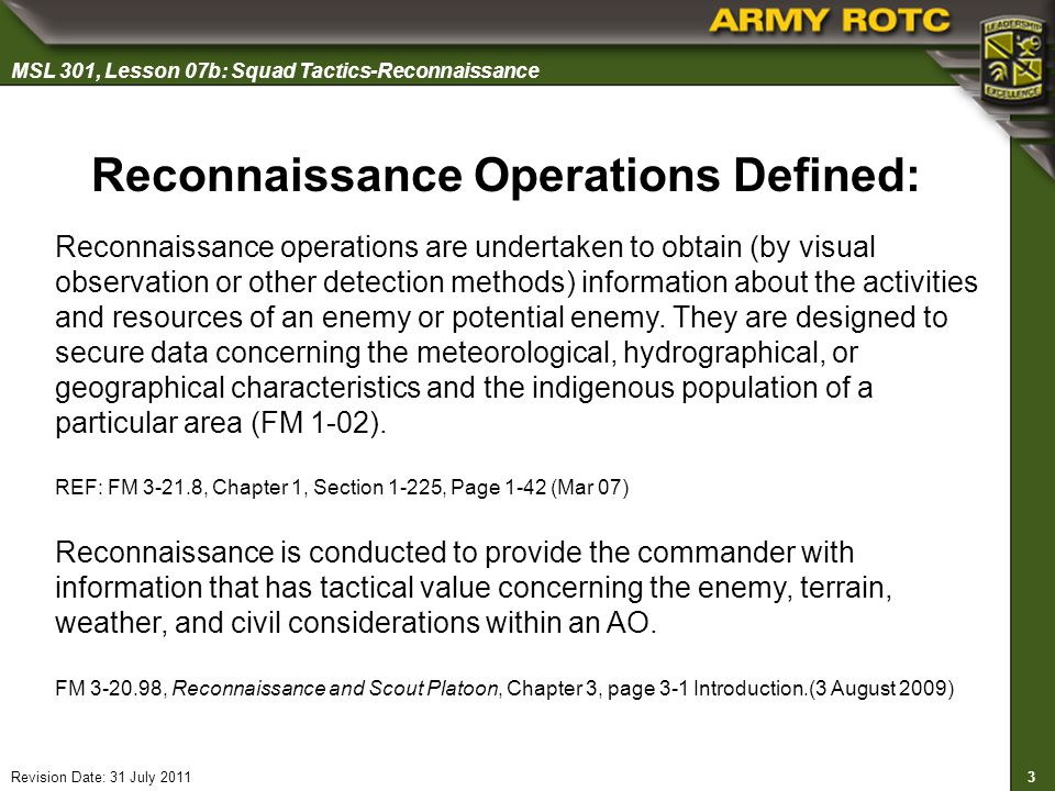Reconnaissance Operations Defined: