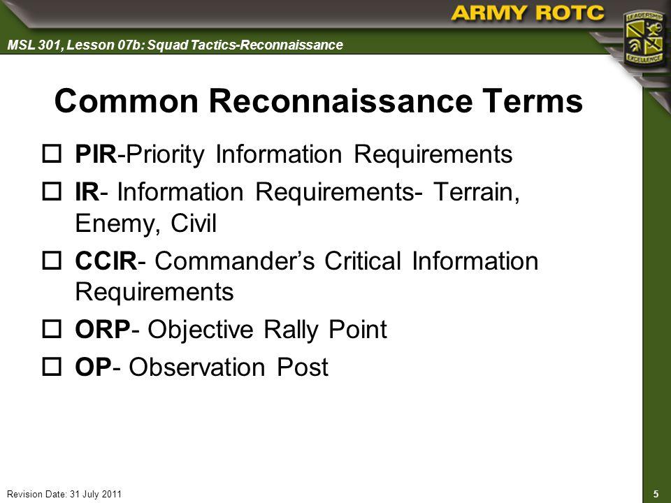 Common Reconnaissance Terms