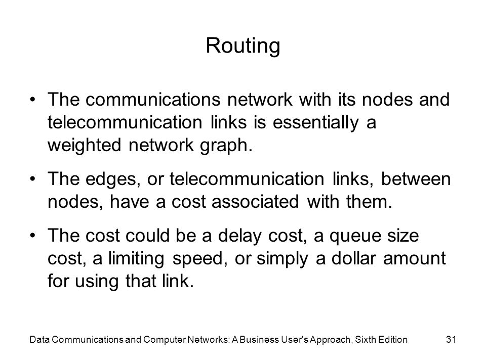 Routing The communications network with its nodes and telecommunication links is essentially a weighted network graph.