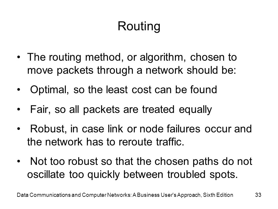 Routing The routing method, or algorithm, chosen to move packets through a network should be: Optimal, so the least cost can be found.