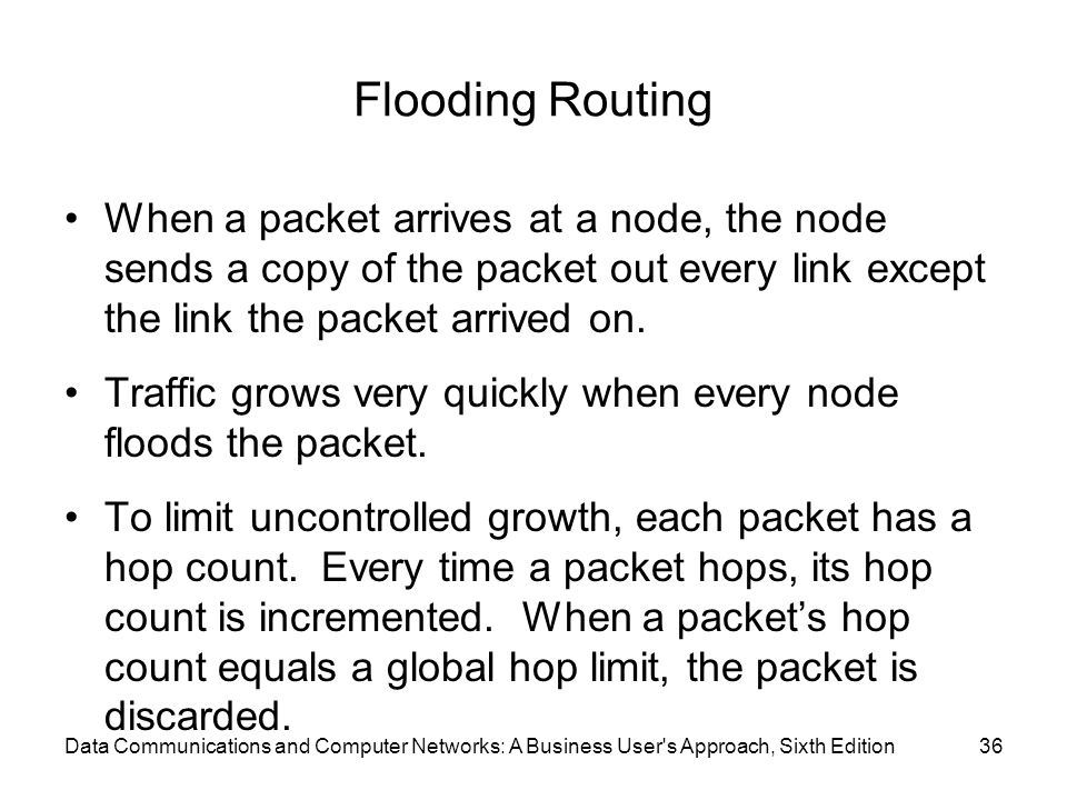 Flooding Routing When a packet arrives at a node, the node sends a copy of the packet out every link except the link the packet arrived on.
