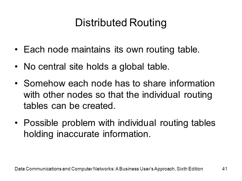 Distributed Routing Each node maintains its own routing table.