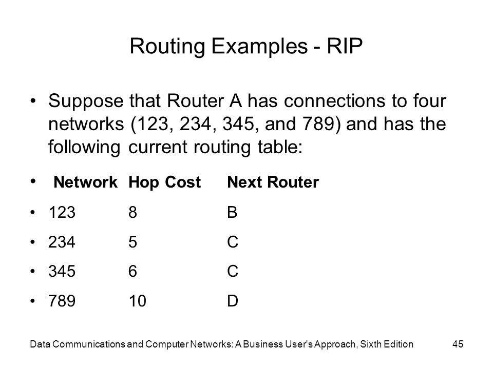 Routing Examples - RIP Suppose that Router A has connections to four networks (123, 234, 345, and 789) and has the following current routing table: