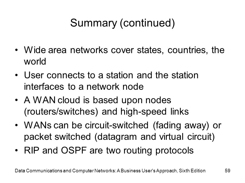 Summary (continued) Wide area networks cover states, countries, the world. User connects to a station and the station interfaces to a network node.