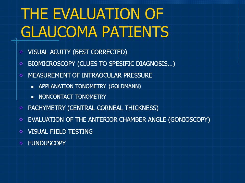 THE EVALUATION OF GLAUCOMA PATIENTS