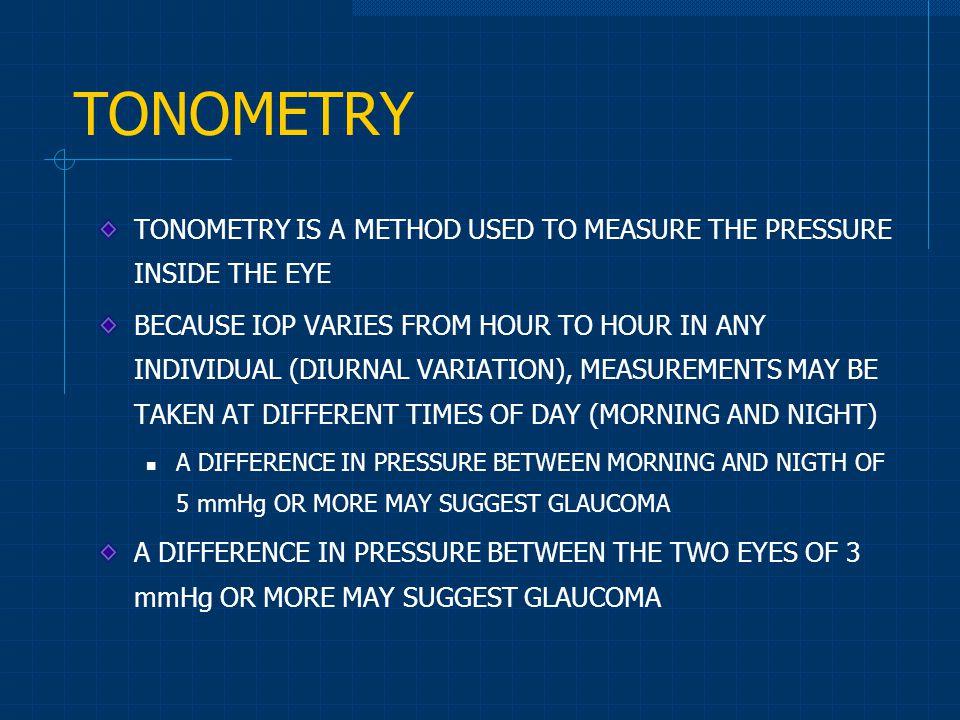 TONOMETRY TONOMETRY IS A METHOD USED TO MEASURE THE PRESSURE INSIDE THE EYE.
