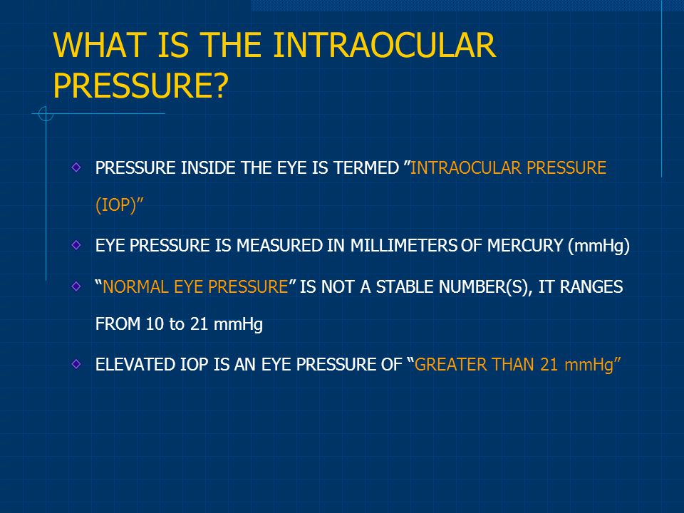 WHAT IS THE INTRAOCULAR PRESSURE
