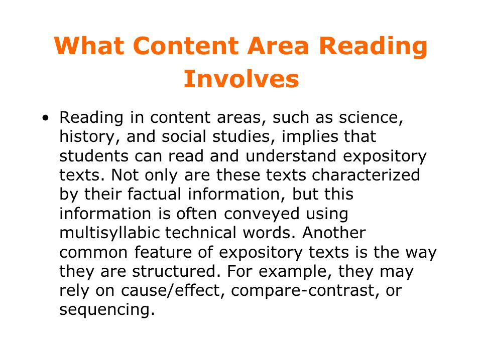 What Content Area Reading Involves