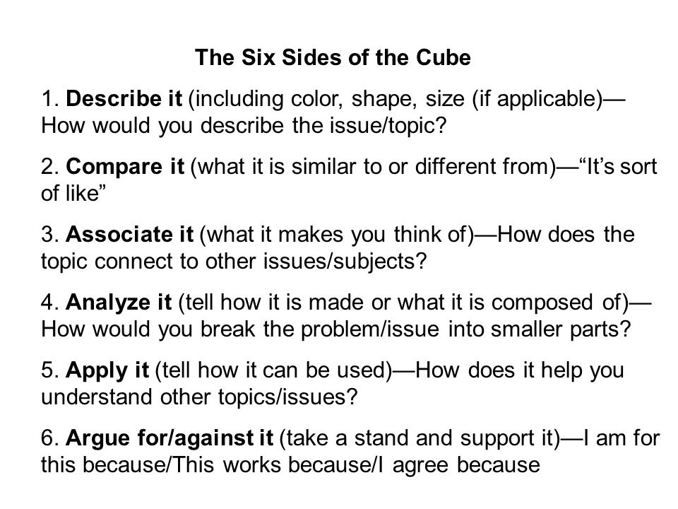 The Six Sides of the Cube
