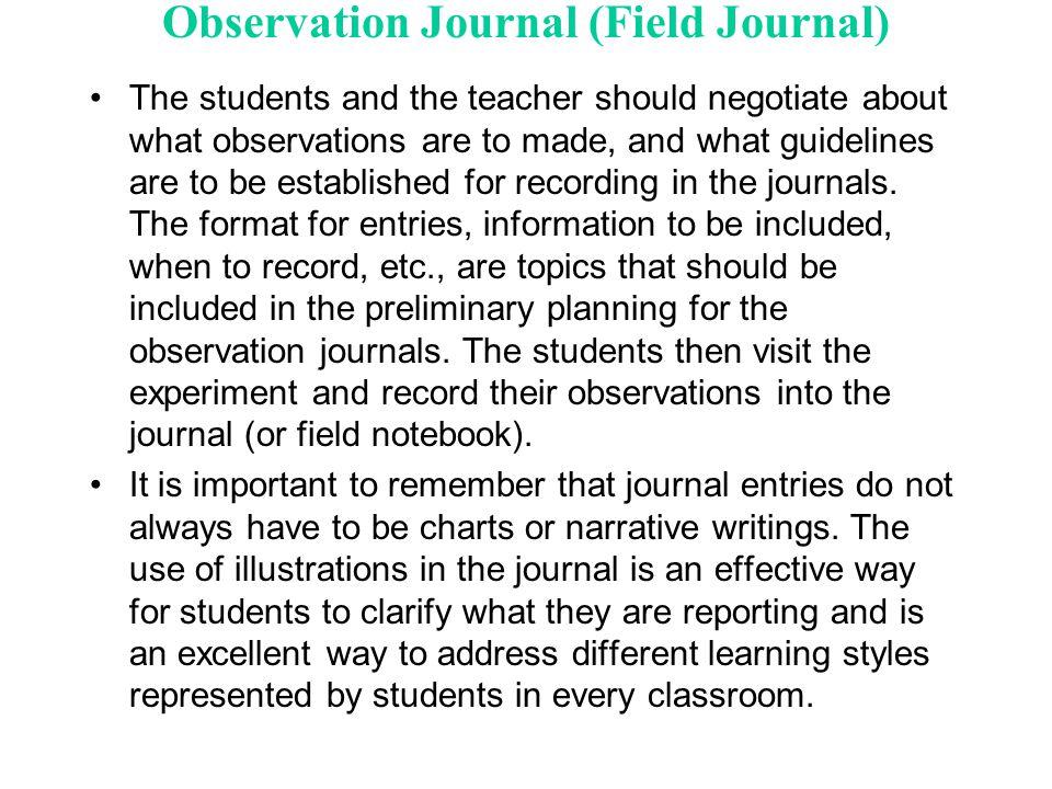 Observation Journal (Field Journal)