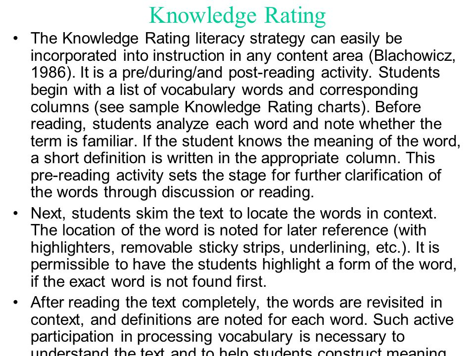 Knowledge Rating