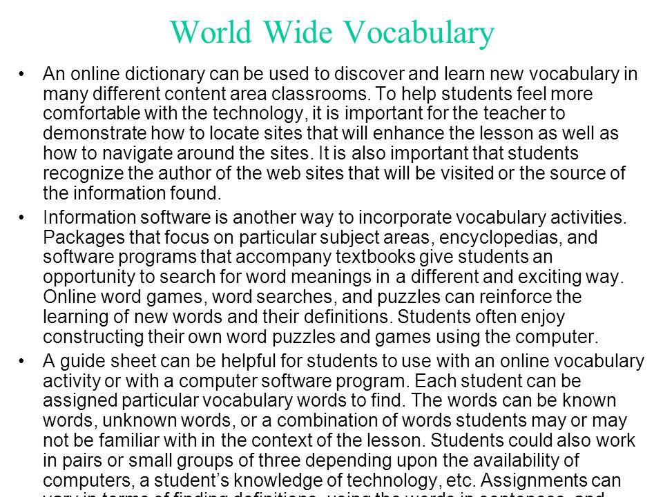 World Wide Vocabulary